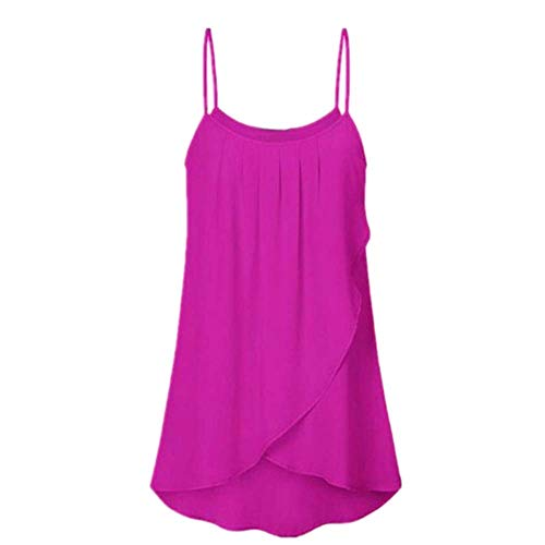 (ERLOU Women's Tops, Ladies Summer Plus Size Solid Sleeveless Chiffon Camis Casual Tunic Tank Tops Blouse T Shirts (Hot Pink, XXXL))