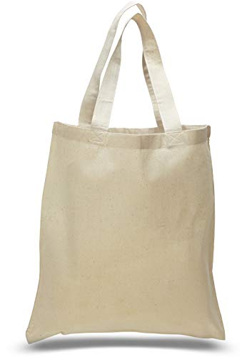12 Per Pack Natural Canvas Tote Bag - 15