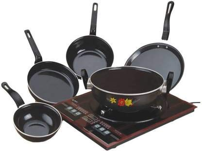 High Quality Aluminum Nonstick Cookware Set, 5L, Black