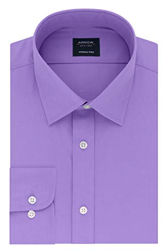 Arrow 1851 Men's Fitted Dress Shirt Poplin, Lavender 15