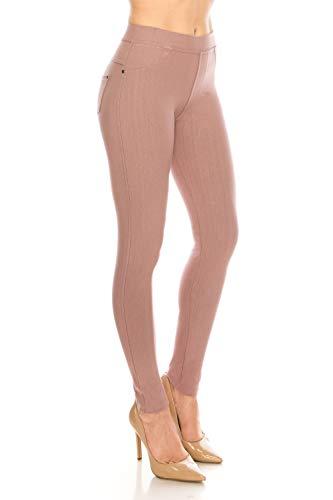 - ShyCloset Basic Skinny Jeggings Pants - Skinny Slim Fit Jean Stretch Leggings (Regular/Plus Size) 1X-2X Mauve