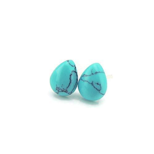 Teardrop Shaped Simulated Turquoise Stone Stud Earrings, Plastic ()