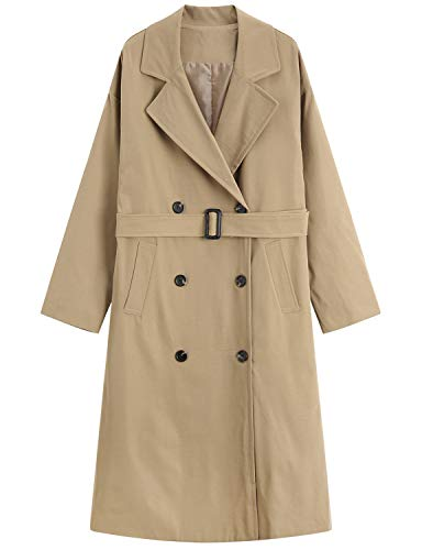 - MOCRIS Trench Coats for Women, Double-Breasted Mid-Length Overcoat Windbreaker with Belt Windbreaker Khaki