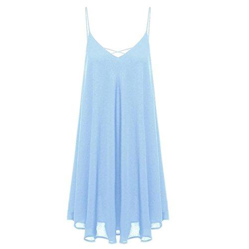 Vestido de verano, RETUROM Mujeres sin mangas Halter vestido de playa de gasa azul claro