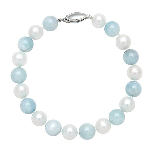 Sterling Silver White Cultured Freshwater Pearl and Beaded Milky Aquamarine Strand Bracelet, 7.5