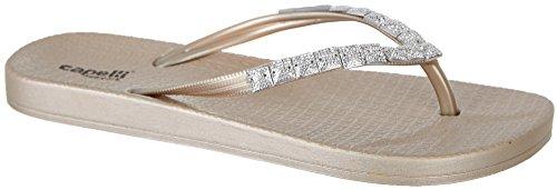 Capelli New York Ladies Caviar Gem Trimmed, Flexy Body Fashion Flip Flops Rose Gold