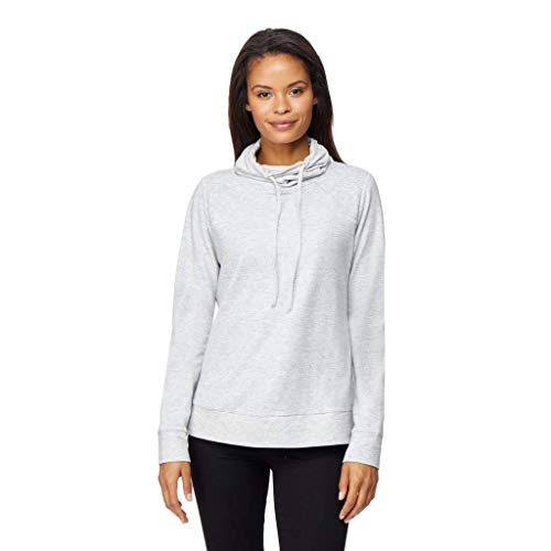 32 DEGREES Womens Faux Cashmere Quilted Funnel Neck Pullover Top, White Spacedye, ()