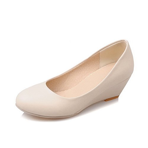 BalaMasa Girls Color Matching Thick Bottom Heel Low-Cut Uppers Imitated Leather Pumps-Shoes Beige IowNX0tdqb