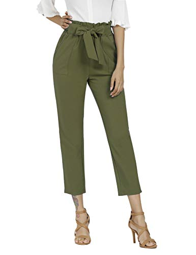 Freeprance Women's Pants Casual Trouser Paper Bag Pants Elastic Waist Slim Pockets XAG_S Army Green
