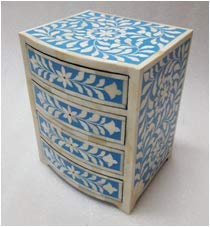 Wood Bone Inlay Small Chest of Drawers