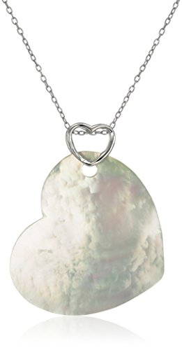 Sterling Silver Mother-Of-Pearl Heart Pendant Necklace,18