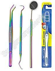 Professional Dental Hygiene Kit Titanium Rainbow 3pc Dental Pick + 1 Oral-B Toothbrush, Tartar Scraper, Mouth mirror and...