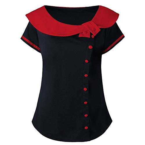 - NEEKEY T-Shirts for Women Plus Size,Fashion Short Sleeve Two Tone Peter Pan Collar Tees Tops Blouse Red