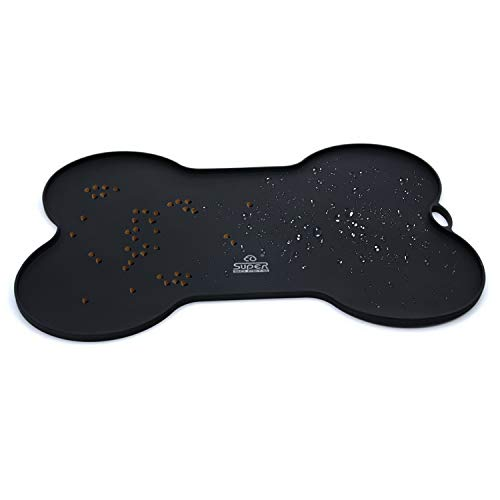 (Super Design Silicone Waterproof Placemat - Pet Feeding Mat FDA Grade Silicone Dog Cat Bowl Mat)