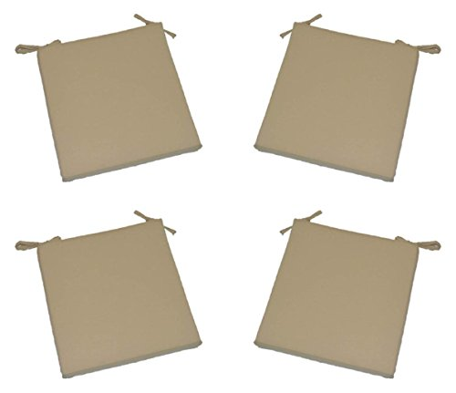 Set of 4 – Universal 2″ Thick Foam Seat Cushion with Ties for Dining / Patio Chair – Light Tan / Khaki Fabric – Choose Size (16″ x 16″)