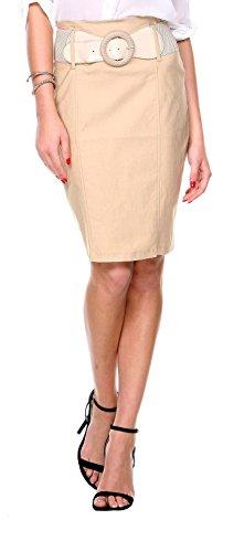 Brocade Tulip Skirt (Stanzino Women's High Waisted Belted Knee Length Pencil Skirt)