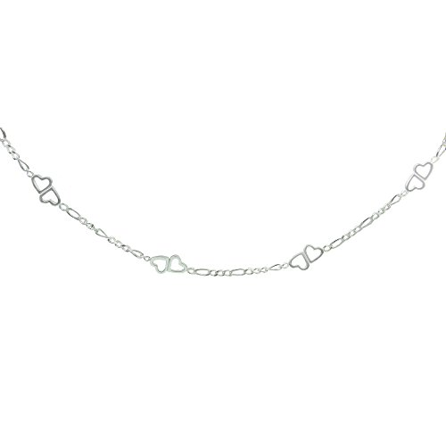 ro Link Chain with Double Hearts Choker Necklace (Loop Sterling Silver Chain)