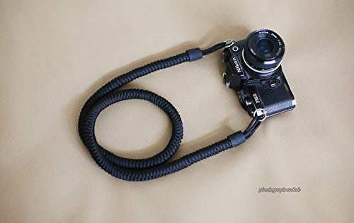 Black parachute rope weave camera neck shoulder strap, from windmup, Black leather, 100% handmade,strong, 16mm (Customizable)