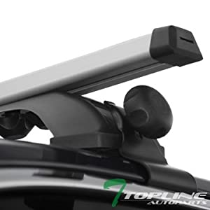 "Topline Autopart 55"" Universal Silver Adjustable Aluminum Window Frame Roof Rack Rail Cross Bars Utility Cargo Carrier"