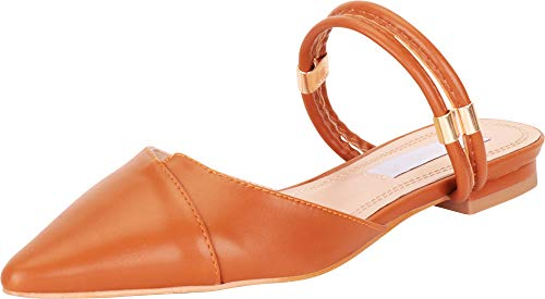 Cambridge Select Women's Pointed Toe Strappy Slip-On Flat Mule,10 B(M) US,Cognac -