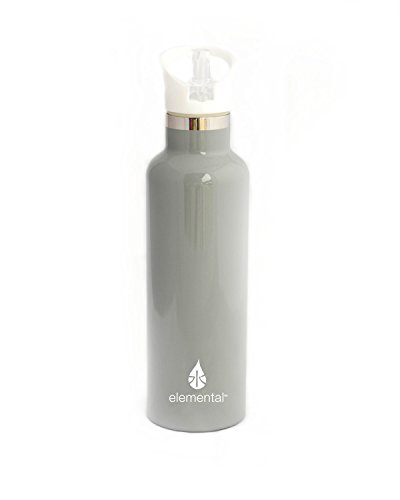 Elemental Stainless Steel Water Bottle 25oz (750ml) Premium Double Wall Insulated Vacuum Bottle (Sport Bottle- Gloss Storm Grey (White Sport Cap)) - Elemental Water