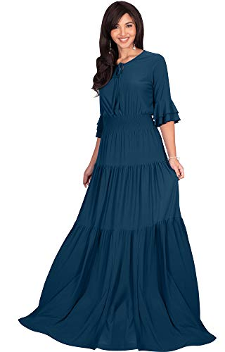 KOH KOH Plus Size Womens Long Boho Bohemian Casual Vintage Solid Casual A-line 3/4 Sleeve Peasant Maternity Flowy Empire Waist Loose Floor Length Cute Maxi Dress Gown, Blue Teal 2XL 18-20