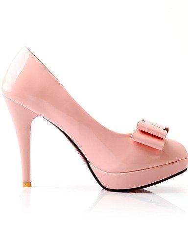GGX/Damen Heels Sommer/Herbst Heels/Schuhe Patent Leder Office & Karriere/Casual Stiletto-Absatz Schleife grün/pink/weiß white-us6.5-7 / eu37 / uk4.5-5 / cn37