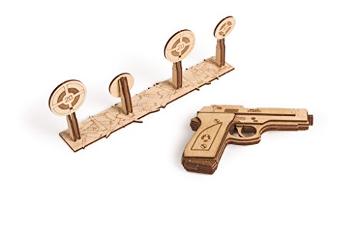 Wood Trick 3D Mechanical Model Kit Gun Pistol Rubber Band With Targets Wooden Puzzle, Assembly Constructor Brain Teaser DIY Toy IQ Game