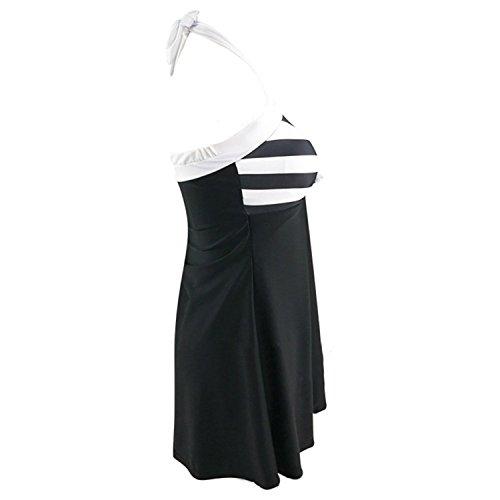 Stevenurr Women Sexy Push Up Bathing Suit Swimwear One-piece Bikini Padded Swimsuit Dress Retro Black White Striped