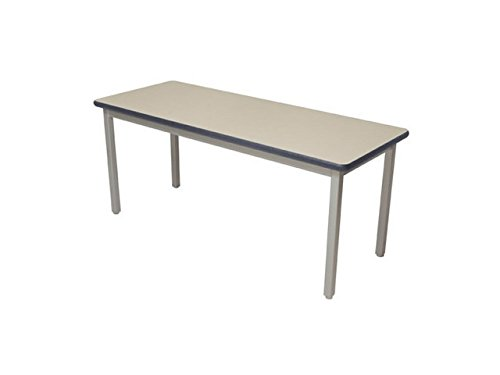 Lobo Tables LOB7109-ABP-32 4 8 in. x 7 2 in. Fully Welded Lobo Table44; Black Frame and Adjustable Big Paw Legs44; Bannister Oak Laminate with Lotz Armor Edge Top