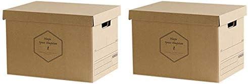 Baffect Caja de almacenamiento de cartón corrugado con tapa Caja de almacenamiento para libros cajas de almacenamiento con tapa Caja de cartón con asa Caja ...