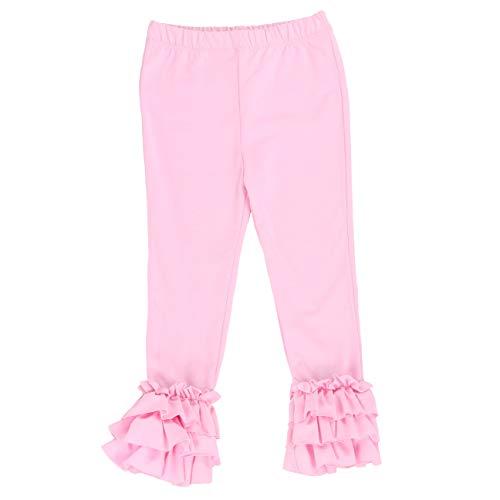 LELEFORKIDS - Toddlers and Girls Raw Ruffle-Hem Sweetie Bee Legging in Pastel Pink 2T ()