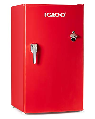 Dropship Wholesale Discount - Igloo IRF32RSRD Classic Compact Refrigerator Freezer with with Chrome Handle & Bottle Opener, 3.2 Cu.Ft, Red