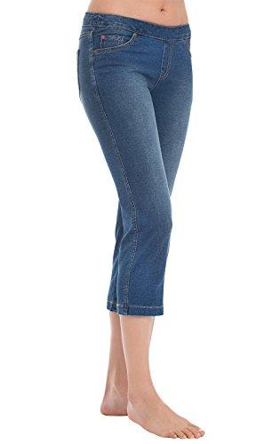 - PajamaJeans Capri Pants for Women - Denim Capris for Women, Bluestone, S / 4-6