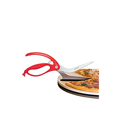 Dreamfarm Scizza - Pizza Scissors, Non-Stick and Pizza Stone Safe Pizza Cutter and Server (Red)