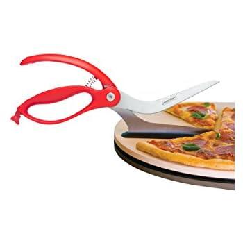 Dreamfarm Scizza - Pizza Scissors, Non-Stick and Pizza Stone Safe Pizza Cutter and Server (Red)