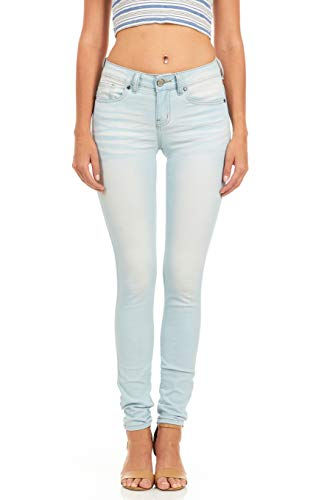 - Cover Girl Women's Plus Size Mid Rise Slim Fit Stretchy Skinny Jeans, Baby Blue, 18W