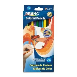 Dixon Prang Presharpened 7-Inch Colored Pencils, 24-Color Set (22240)