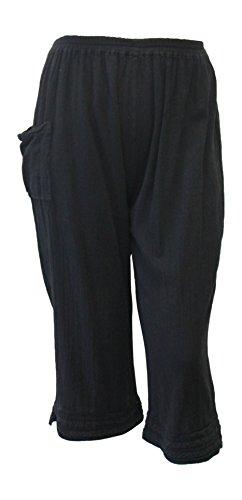 Tamar Fashions Women's Grace Cotton Gauze Crop Pant (Medium, Black)