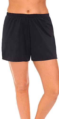 Aquabelle Women's Plus Size Chlorine Resistant Loose Short 26 Black (Resistant Chlorine Fabric)