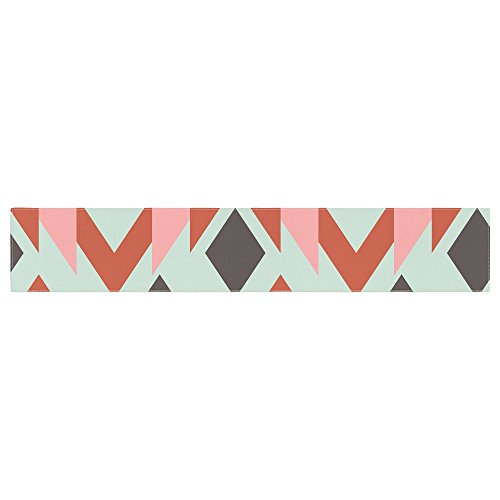 Kess InHouse Pellerina Design Coral Mint Triangle Weave Orange Teal Table Runner ()