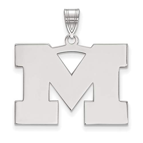 University of Michigan Wolverines School Letter Logo Pendant in Sterling Silver 21x27mm