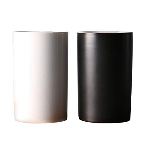 Kelake Set of 2 Ceramic Bathroom Tumbler Cup for Mouthwash/Rinsing/Drinking,Toothpaste and Toothbrush Holder Stand (Black & - Wash Cup Ceramic