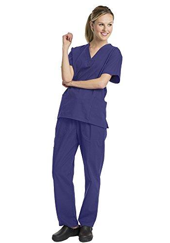 Scrub Grape (Deluxe 2pk Medical Scrubs for Women Nurse Uniform Set Solid V-Neck, Grape, Large)