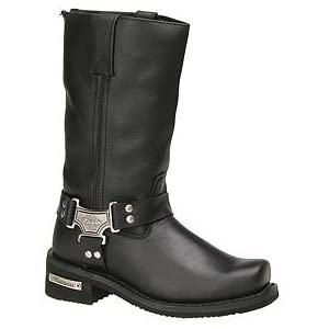 Milwaukee Motorcycle Clothing Company Classic Harness Leather Women's Motorcycle Boots (Black, Size 9C)