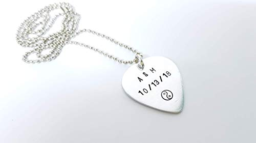 Personalized Necklace, Custom Guitar Pick, Boyfriend Gifts, Aluminum, Silver Plated, Name Necklace, Date, Initial Necklace, Guitar Pick Necklace, Personalized Gifts for Men, Anniversary Gifts, PJGGPN1