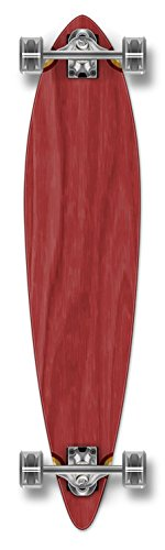 Yocaher Punked Stained Pintail Complete Longboard Skateboard, 40 x 9-Inch, Red