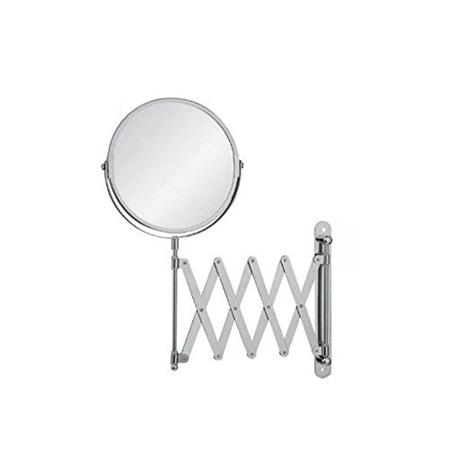Garrelett Wall Cosmetic Mirror, Rotate Dual-Side Normal Mirror & 2X Magnifying Glass Stainless Steel Beauty Make up Mirror 6 Inch (Flat Plain Mirrored Cabinet)