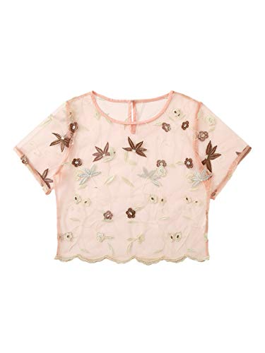 MAKEMECHIC Women's Rose Embroidered Applique Sheer Mesh Blouse Top 26-Multi -