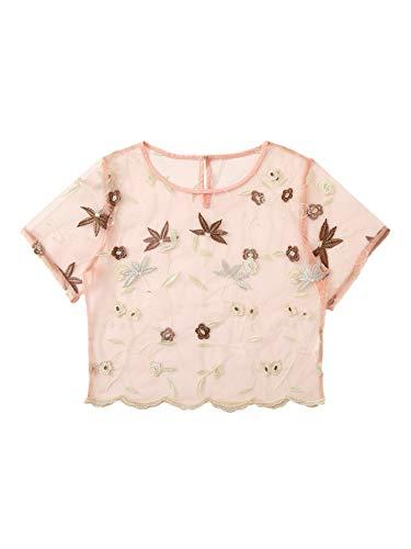 MAKEMECHIC Women's Rose Embroidered Applique Sheer Mesh Blouse Top 26-Multi S
